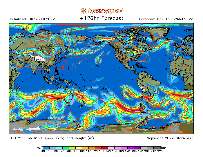 Weather Model - Global Jet Stream Wind and 250 mb Pressure (STORMSURF)