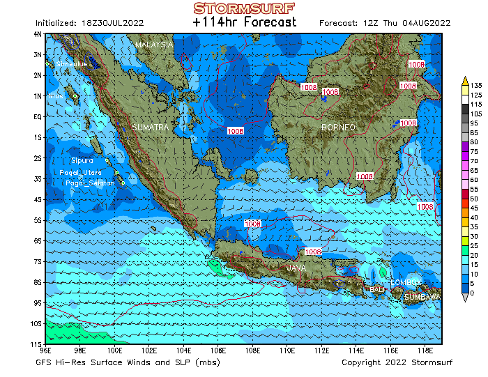 Weather Model Indonesia Surface Pressure And Wind Stormsurf