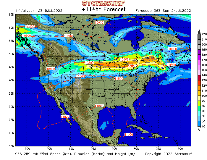 Weather Model - North America Jet Stream Wind and 250 mb Pressure ...