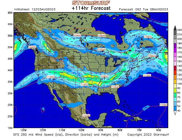 Weather Model North America Jet Stream Wind And Mb Pressure - Us jet stream forecast map