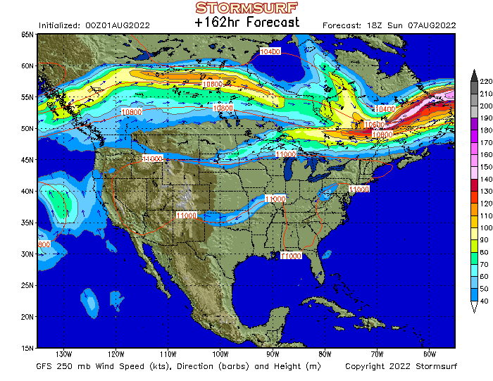 Weather Model  North America Jet Stream Wind and 250 mb Pressure