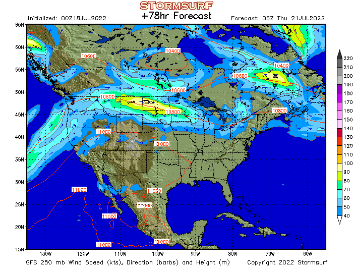 Weather Model - North America Jet Stream Wind and 250 mb ...