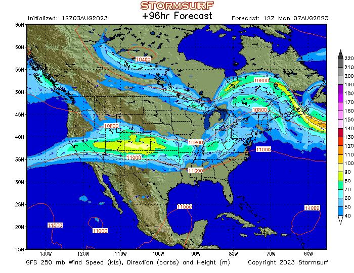 Weather Model - North America Jet Stream Wind and 250 mb Pressure ...