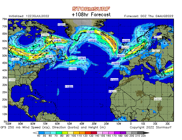 weather model north atlantic jet stream wind and 250 mb pressure stormsurf