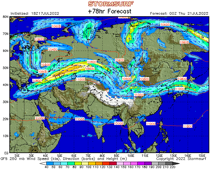 Weather Model Asia Jet Stream Wind And Mb Pressure STORMSURF - Us jetstream map