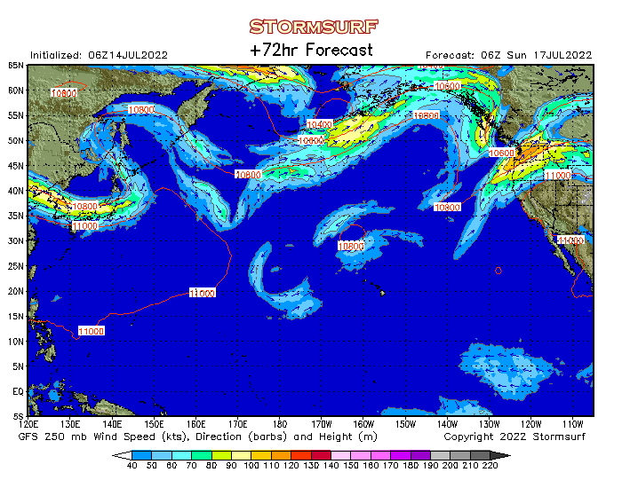 Weather Model - North Pacific Jet Stream Wind and 250 mb Pressure ...