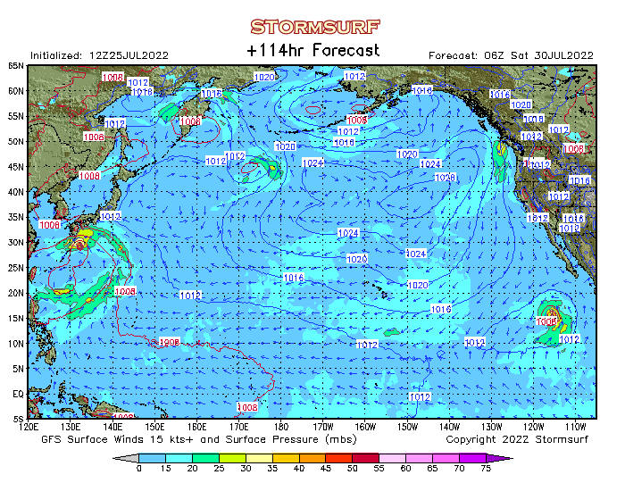 Weather Model North Pacific Surface Pressure And Wind Stormsurf