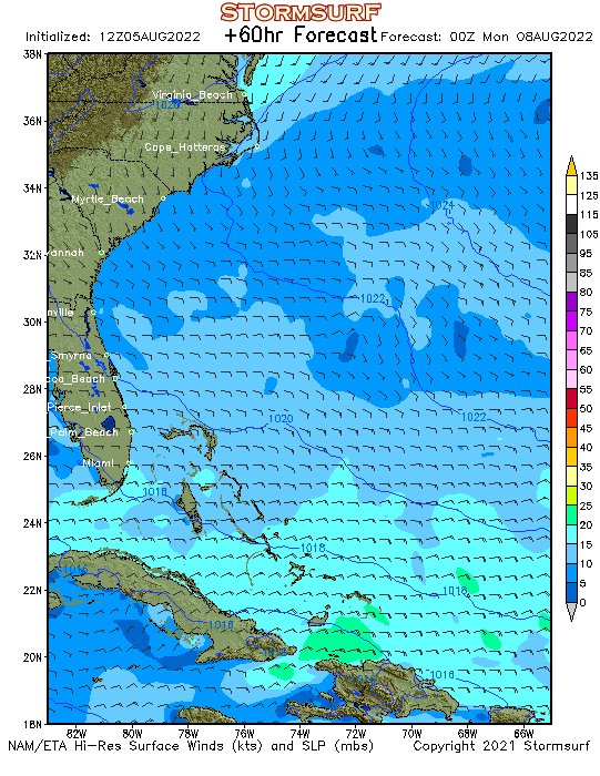 Weather Model Southeast US Coast Wind Speed And Direction - Us wind speed map
