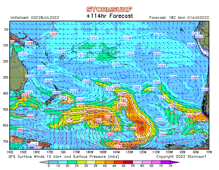 Weather Model South Pacific Surface Pressure And Wind Stormsurf