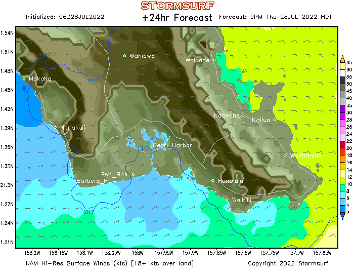 Weather Model Oahu South Shore Wind Forecast Stormsurf