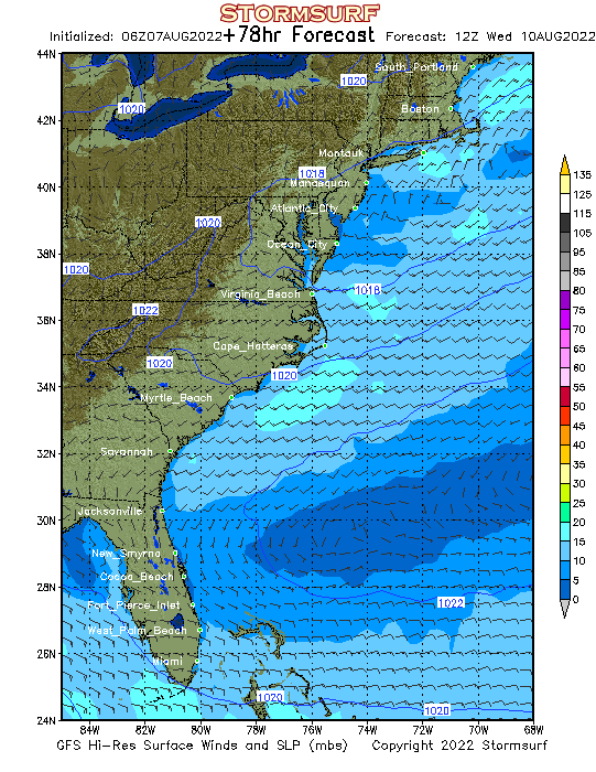 Weather Model East United States Surface Pressure And Wind Stormsurf - Pressure-map-of-us